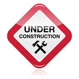 Under construction red warning sign Royalty Free Stock Photo