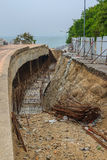 Under construction for repair of the road after a landslide. The thailand Stock Image