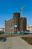 Under construction residential house. In modern suburban distict, Russia Royalty Free Stock Photography