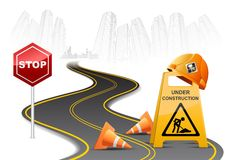 Under Construction on Road Stock Images