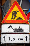 Under construction road sign Stock Photos