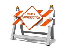 Under construction road sign barrier Stock Images