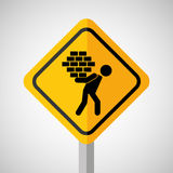 Under construction road sign man brick hold Stock Image