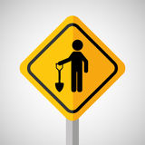 Under construction road sign man and shovel Royalty Free Stock Images
