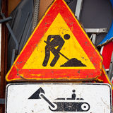 Under construction road sign Stock Photo