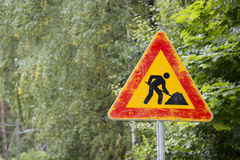 Under construction road sign Royalty Free Stock Photos