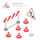 Under construction. Road sign, triangle cap, barri Stock Photo