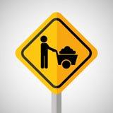 Under construction road sign wheelbarrow Stock Photo