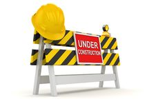 Under Construction Roadblock. This is a 3d rendered computer generated image. Isolated on white Stock Image