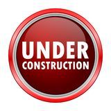 Under Construction round metallic red button Royalty Free Stock Photography