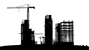 Under construction. Scene animation, with tower cranes and skyscrapers stock video