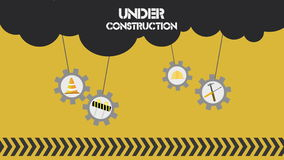 Under Construction set on white background. Nice animation of under construction concept seamless looping stock video