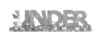 Under Construction shattered concrete 3d letters isolated. Stock Photo