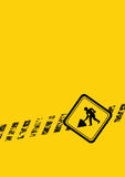 Under construction sign. A under construction yellow and black sign Royalty Free Stock Image