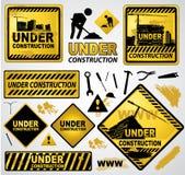 Under construction sign. Under construction alert sign illustration set Stock Images