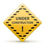Under Construction Sign. Under Construction Sign, Yellow and Black. Vector illustration Stock Photography