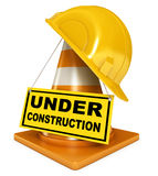 Under construction sign. Helmet for builder worker. Traffic cones. Under construction sign. Icon isolated on white background. 3d render Royalty Free Stock Images
