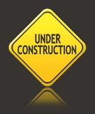 Under construction sign. Illustration of yellow under construction warning sign reflected on black background stock illustration