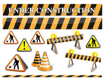 Under construction sign. The set of under construction sighs