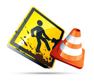 Under construction sign. Clipart illustration Stock Images