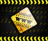 Under construction sign on background black Stock Photos