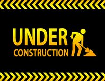 Under construction sign. Background of under construction sign, internet concept Stock Photos