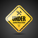 Under construction sign black and yellow Stock Photos