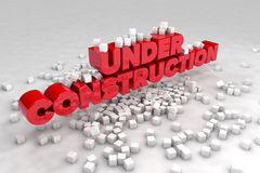 Under construction sign with blocks of cubes. 3D render image Stock Photo