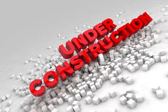 Under construction sign with blocks of cubes. 3D render image Royalty Free Stock Image
