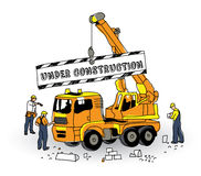 Under construction sign builder and objects on white. Royalty Free Stock Photos