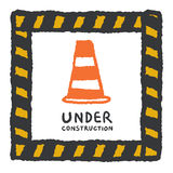 Under construction sign in cartoon style Royalty Free Stock Photos