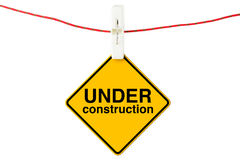 Under Construction sign with clothesline Royalty Free Stock Image