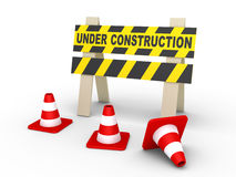 Under construction sign and cones Stock Photography