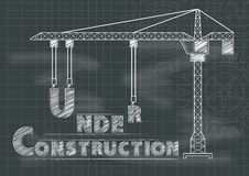 Under Construction sign crane gears and cogs chalkboard. Blueprint on blackboard vector illustration