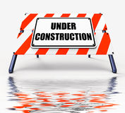Under Construction Sign Displays Partially Insufficient Construc Stock Photo