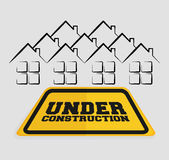 under construction sign house residential Stock Image