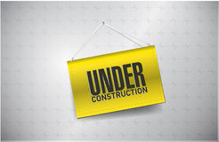 Under construction sign hung Royalty Free Stock Photo