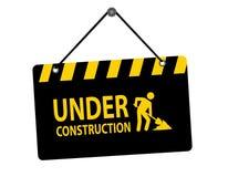 Under construction sign. Illustration of hanging under construction sign with white background Stock Image