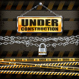 Under construction sign & lock Stock Photos