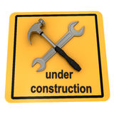 Under construction sign over white Royalty Free Stock Photography