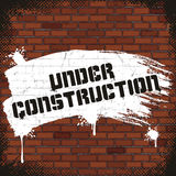 Under Construction Sign, Painted on Old Brick Wall Royalty Free Stock Images