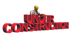 Under construction sign - separated on white background Royalty Free Stock Images