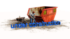 Under construction sign - separated on white background Royalty Free Stock Photo