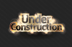 Under Construction sign. Shining gold text effect for a vector under construction sign royalty free illustration