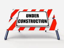 Under Construction Sign Shows Partially Royalty Free Stock Photo