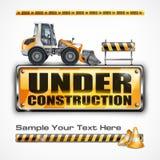 Under construction sign & tractor vector illustration