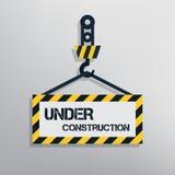 Under construction sign. Warning message for website. Flat design vector illustration Stock Photos