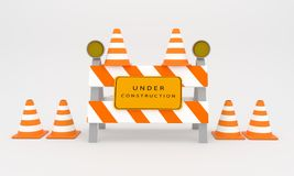 Under construction sign , web construction sign 3D rendering Royalty Free Stock Photo