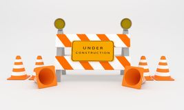 Under construction sign , web construction sign 3D rendering Royalty Free Stock Photos