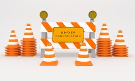 Under construction sign , web construction sign 3D rendering Stock Photo